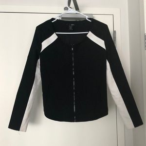 Aqua Black and White Color Block Fitted Jacket